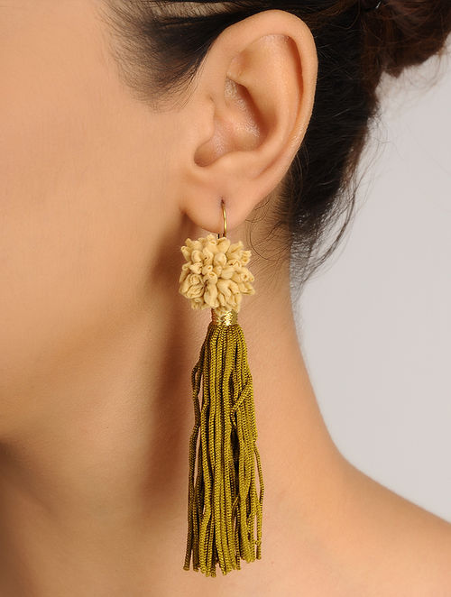 Off-White Handmade Chanderi Silk Earrings