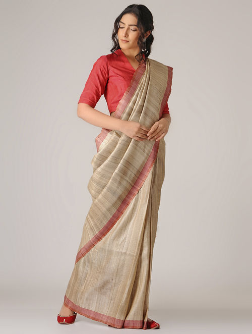 Buy Beige-Blue Ghicha Tussar Silk Saree Online at Jaypore.com