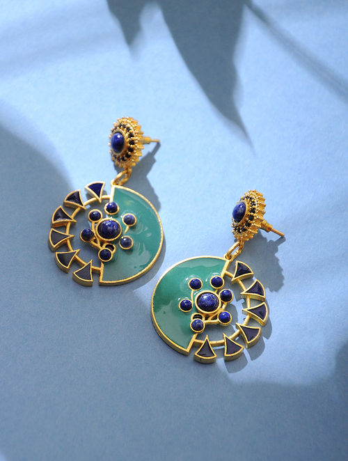 Green Blue Gold Tone Lapiz Enamel Earrings