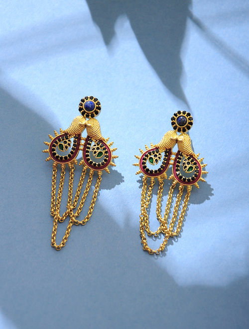 Multi Colored Gold Tone Enamel Earrings