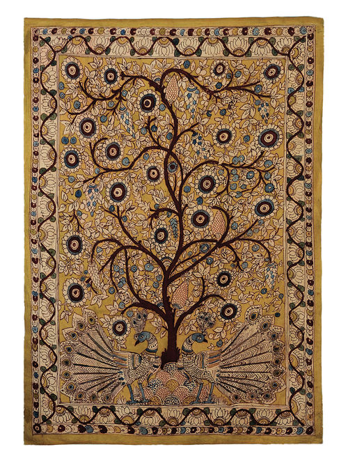 Olive-Multicolor Cotton Hand Painted Kalamkari Wall Hanging 46in x 32.5in
