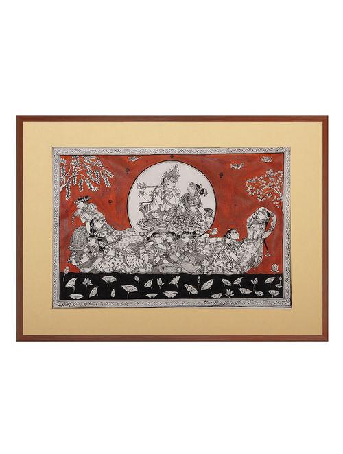 Radha Krishna Pattachitra on Silk 21in x 15.5in