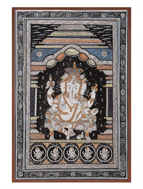 Ganesha Pattachitra on Patta 21in x 15in