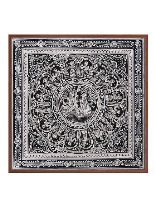 Radha & Krishna Pattachitra on Patta 10in x 10in