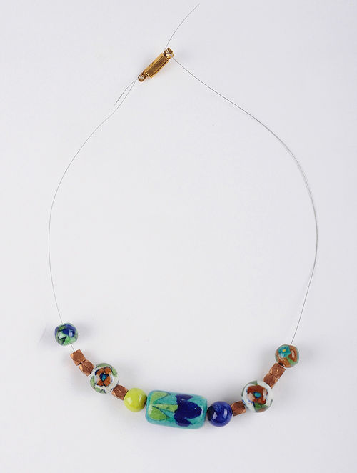 Buy necklace bracelet diy kit with dokra and blue pottery beads necklace bracelet diy kit with dokra and blue pottery beads solutioingenieria Choice Image