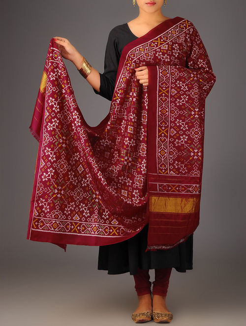 Buy Maroon Zari Single Ikat Patola Silk Dupatta Online At