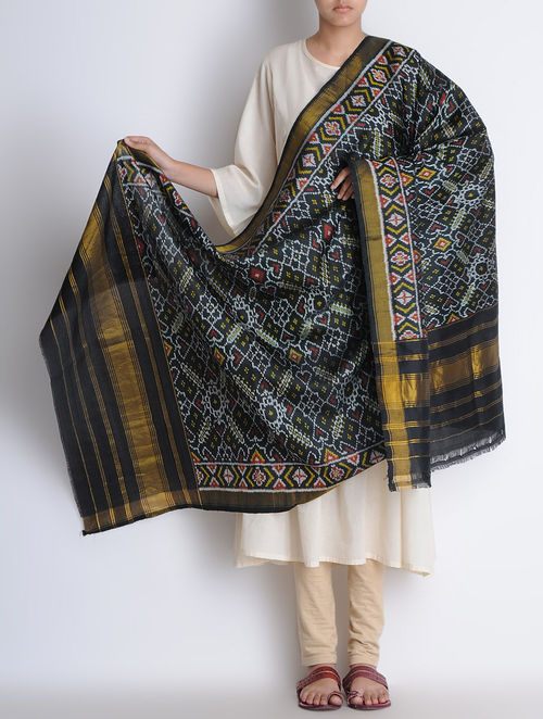 Buy Black Silk Single Ikat Patan Patola Silk Dupatta