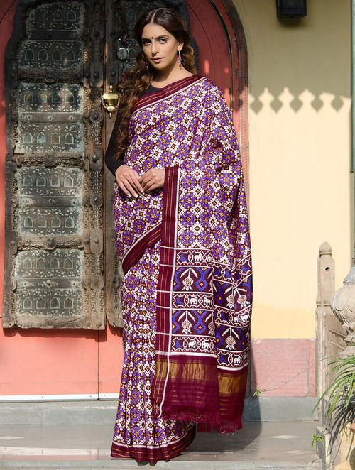 Buy Purple Multi Color Double Ikat Patan Patola Silk Saree