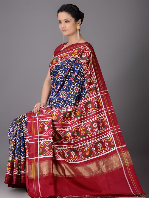 Buy Blue Red Multicolor Double Ikat Patan Patola Silk