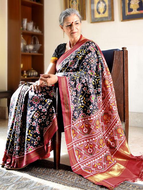 Buy Black Red Double Ikat Patan Patola Silk Saree With