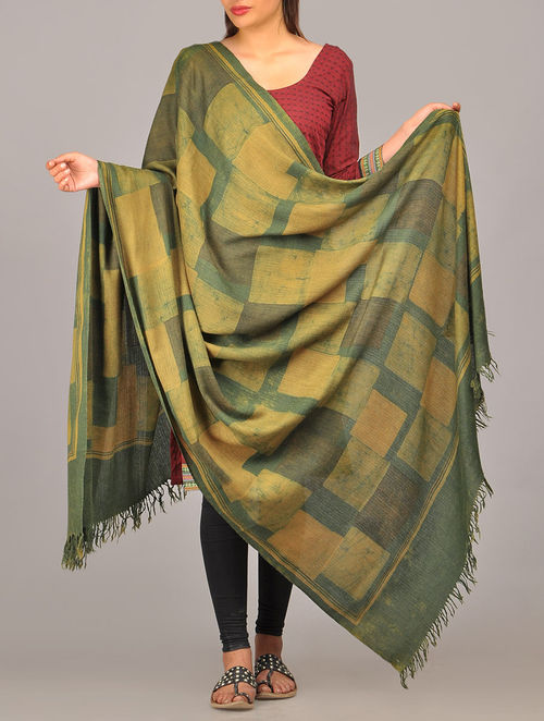 Buy Green Yellow Woolen Dupatta Online At Jaypore Com