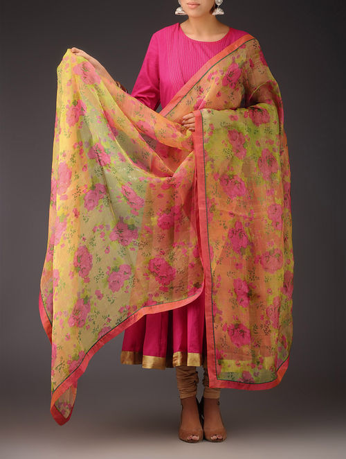 Buy Yellow Pink Green Floral Silk Handwoven Printed