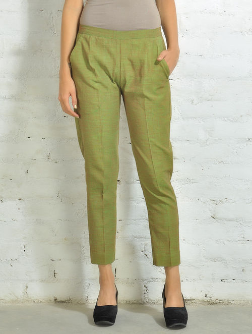Buy Green Red Hand Woven Cotton Cigarette Pants Online At
