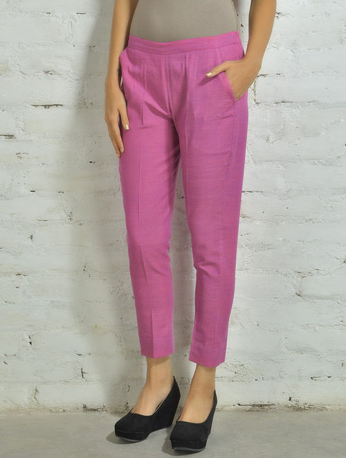 Buy Lilac Pink Hand Woven Cotton Cigarette Pants Online At