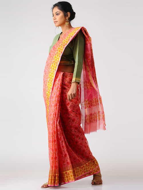 35b95e7f6dc71b Buy Pink-Yellow Block-printed Kota Doria Saree with Zari Border ...