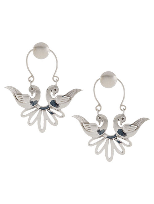 Mughal Jali Birds Bali Silver Earrings