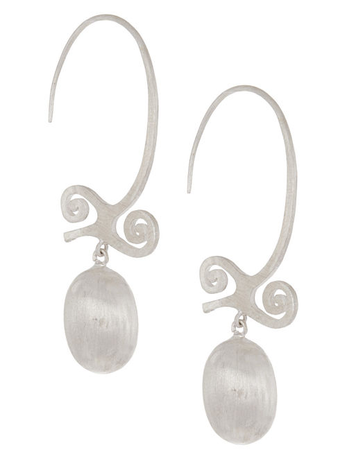 Open Hoops of Bravery Silver Earrings