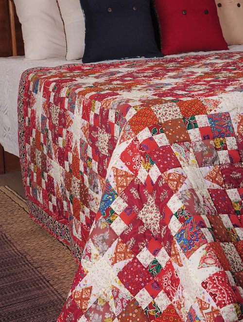 Buy Red Ivory Patchwork Ring Of Star Quilt 106in X 88in