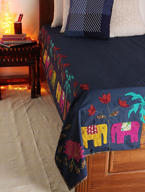 Navy-Multicolor Madhubani Elephant Single Bed Cover 106in x  71.5in