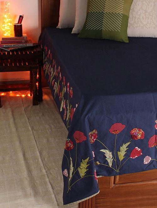 Navy-Multicolor Poppy Single Bed Cover 107in x  71in