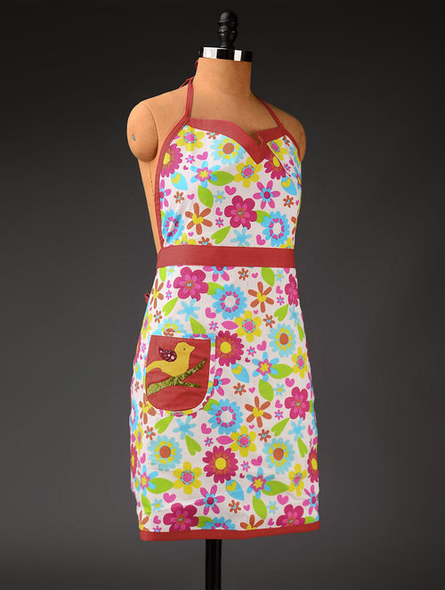 Multicolor Floral A-Line Apron 31in x  43in