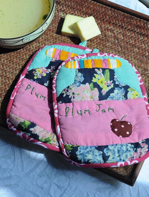 Multicolor Plum Jam Hot Pad-Set of 2 8.5in x  6.5in