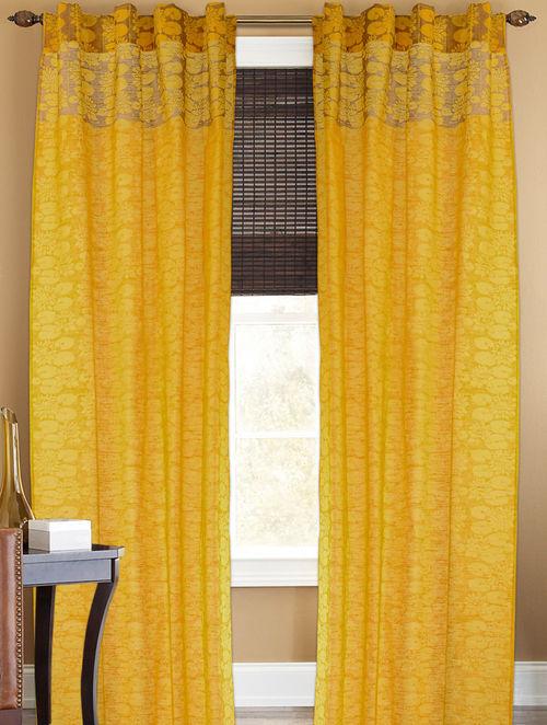 Yellow-Golden Lotus Boota Curtain - 105in x 44in