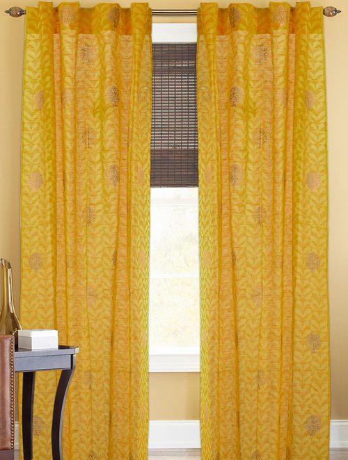 Yellow-Golden Tree Boota Curtain - 82in x 43in