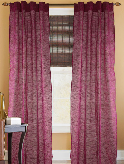 Fuschia-Golden Floral Curtain - 82in x 43in