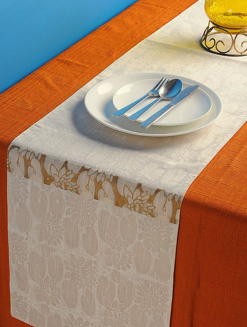 Ivory-Golden Lotus Table Runner 72in x 13.2in