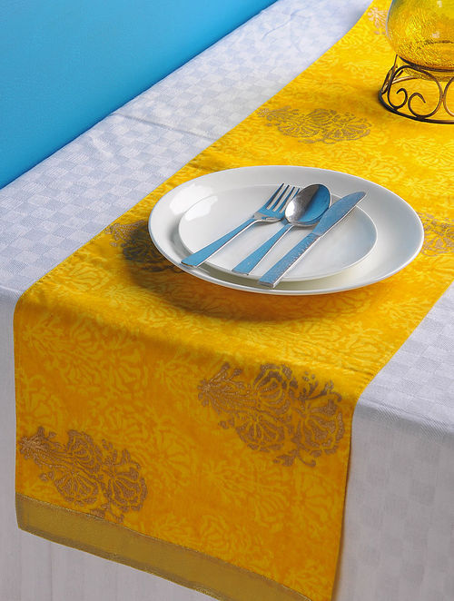 Yellow-Golden Floral Table Runner 45in x 13in