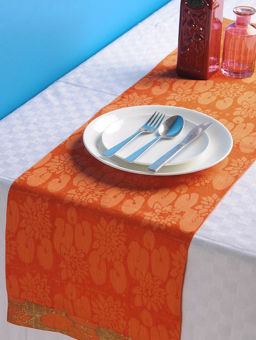 Orange-Golden Lotus Table Runner 45in x 13in