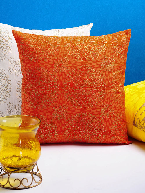 Orange-Golden Dahlia  Cushion Cover 16in x 16in