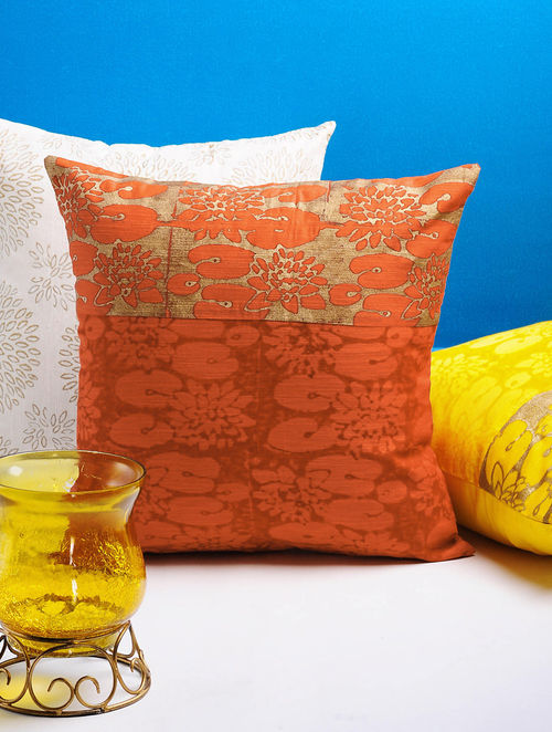 Orange-Golden Lotus Cushion Cover 16in x 16in