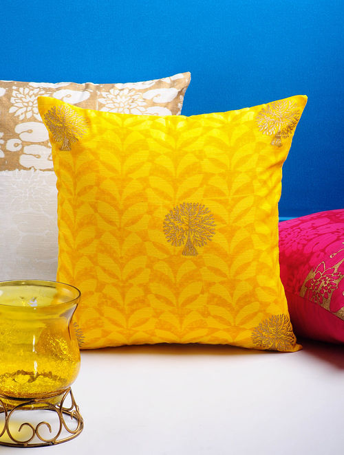 Yellow-Golden Tree Cushion Cover 16in x 15.5in
