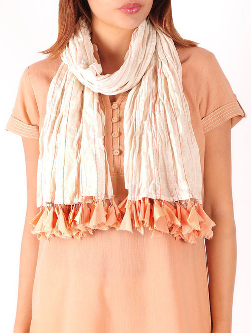 Beige-Peach Anchor Stitch Detailed Cotton Stole