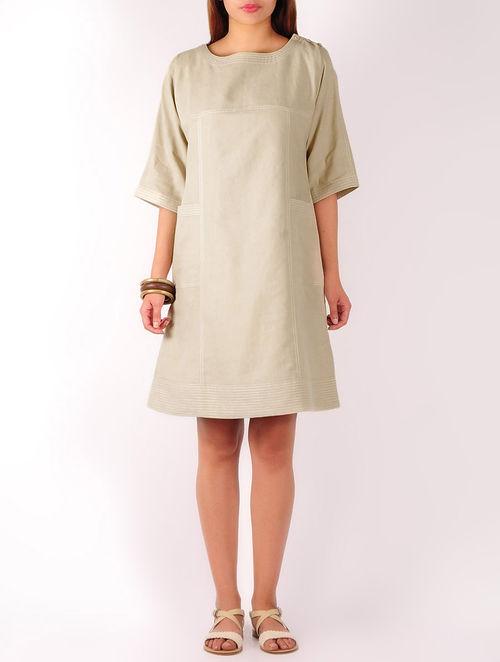 Beige Stitch Detailed Cotton-Linen Shift Dress