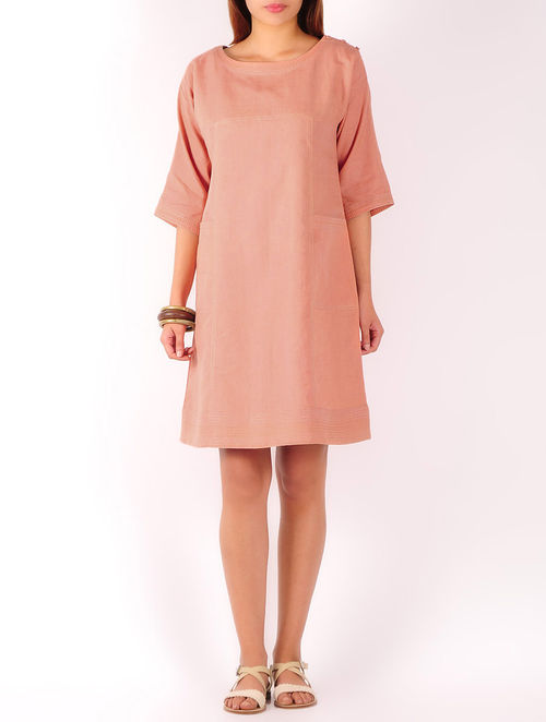 Light Peach Stitch Detailed Cotton-Linen Shift Dress