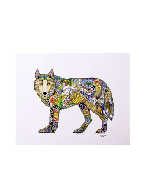 Buy Multi Color Standing Wolf Print 11in X 14in Online At