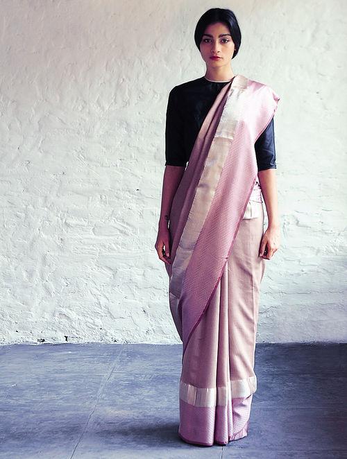 Buy Jeenat Light Bronze Pink Cotton Silk Saree By Raw
