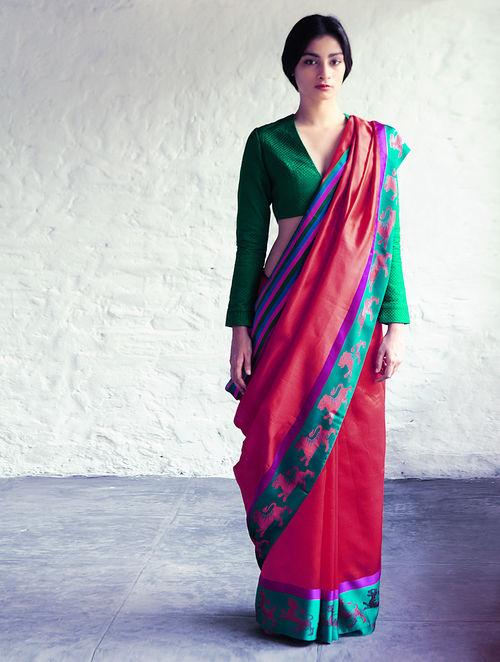 Buy Nahar Red Multicolor Silk Tissue Saree By Raw Mango