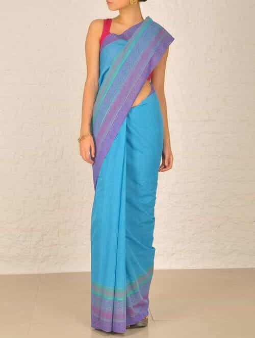 Buy Blue Andhra Cotton Saree Online At Jaypore Com