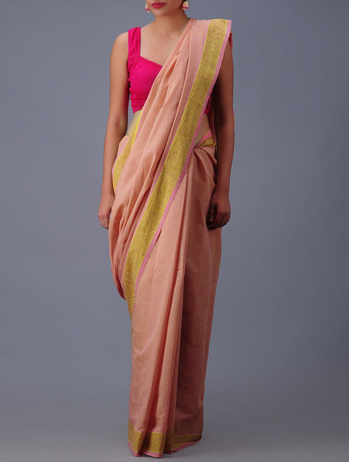 Buy Pink Yellow Andhra Cotton Saree Online At Jaypore Com