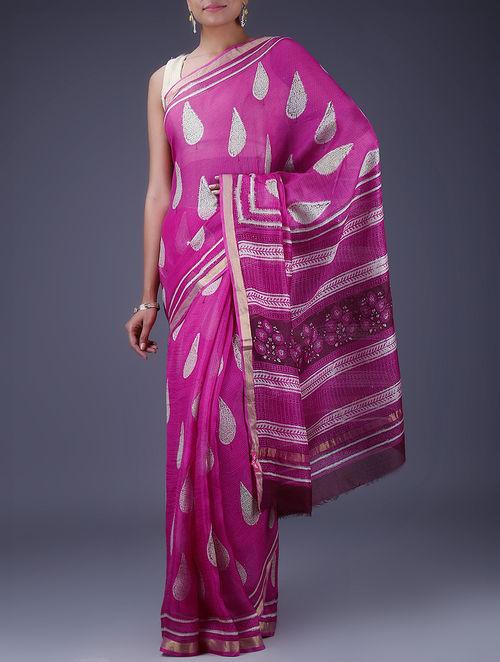98be8ab53afdb Buy Fuchsia-White Block Printed Kota Silk Saree with Zari Border ...