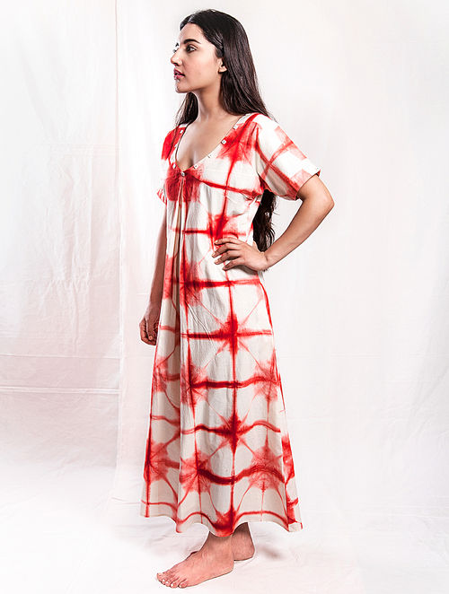 a5b321e4018 Buy White-Red Shibori Cotton Maxi Dress -M Online at Jaypore.com