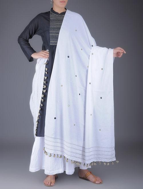 Buy White Cotton Dupatta With Mirror Work And Tassels