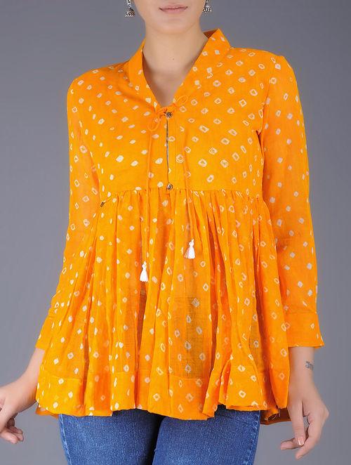 Buy Yellow Bandhani Printed Tie Up Waist Cotton Kedia Top