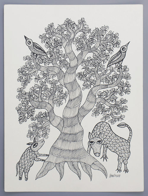 buy black and white tree gond art painting on paper 14 6in x 10 7in