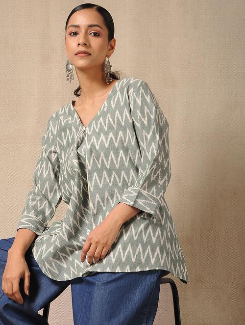 aab78feb112b35 Buy Ivory-Green Handloom Ikat Cotton Top Online at Jaypore.com