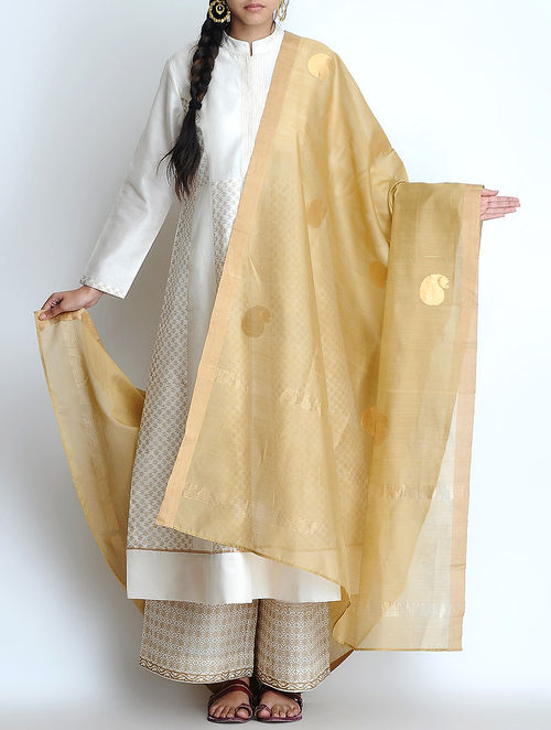 Buy Beige Golden Zari Woven Silk Chanderi Dupatta Online